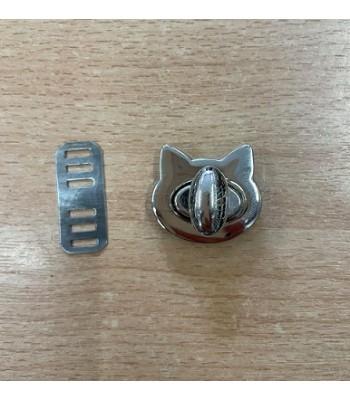Μεταλλικό Στριφτό Κούμπωμα Γατάκι Νίκελ 28mm x25mm