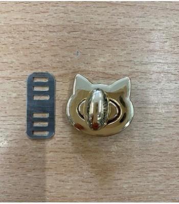 Μεταλλικό Στριφτό Κούμπωμα Γατάκι Χρυσό 28mm x25mm