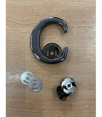 Μεταλλικό Διακοσμητικό Κούμπωμα C Μαύρο Νίκελ 4,5εκ. X 5,3εκ.