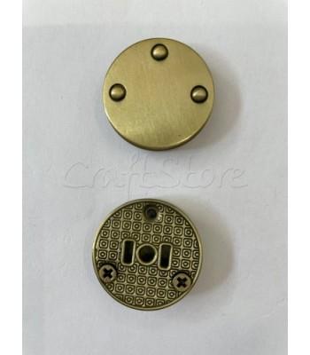 Μεταλλικό Στρογγυλό Κούμπωμα Μπρονζέ 28mm