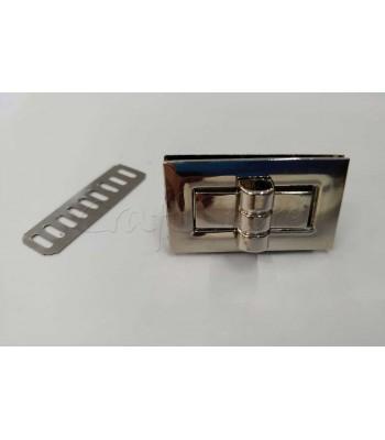 Μεταλλικό Ορθογώνιο Στριφτό Κούμπωμα Τσάντας Νίκελ 4 εκ. Χ 2 εκ.