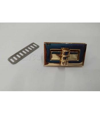 Μεταλλικό Ορθογώνιο Στριφτό Κούμπωμα Τσάντας Χρυσό 4 εκ. Χ 2 εκ.