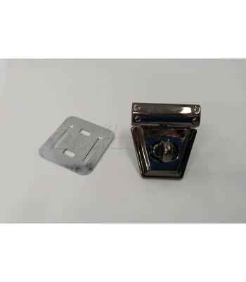 Μεταλλικό Τριγωνικό Στριφτό Κούμπωμα Τσάντας Μαύρο Νίκελ 4 εκ. Χ 3,5 εκ.