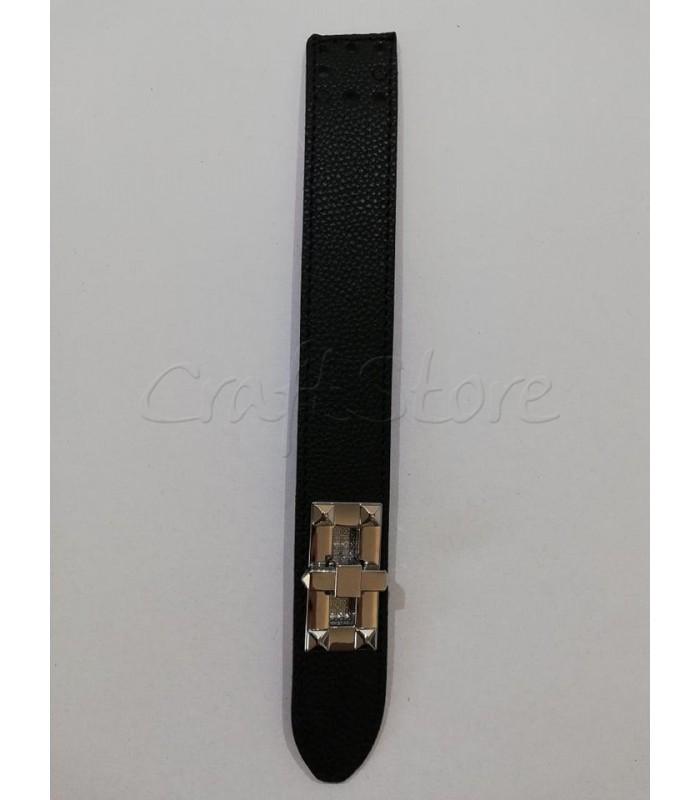 Γλωσσάκι Δερματίνης Μαύρο 25Χ3εκ. με Στριφτό κούμπωμα