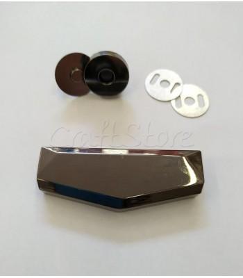 Μεταλλικό Μαύρο Νίκελ Διακοσμητικό Κούμπωμα 6x2.3cm