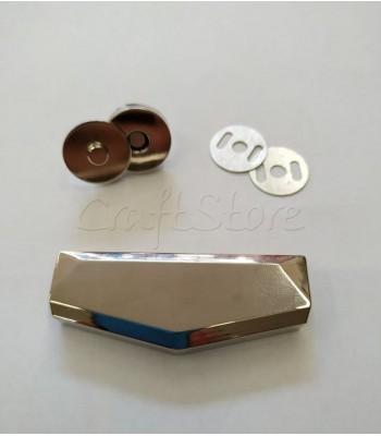 Μεταλλικό Νίκελ Διακοσμητικό Κούμπωμα 6x2.3cm