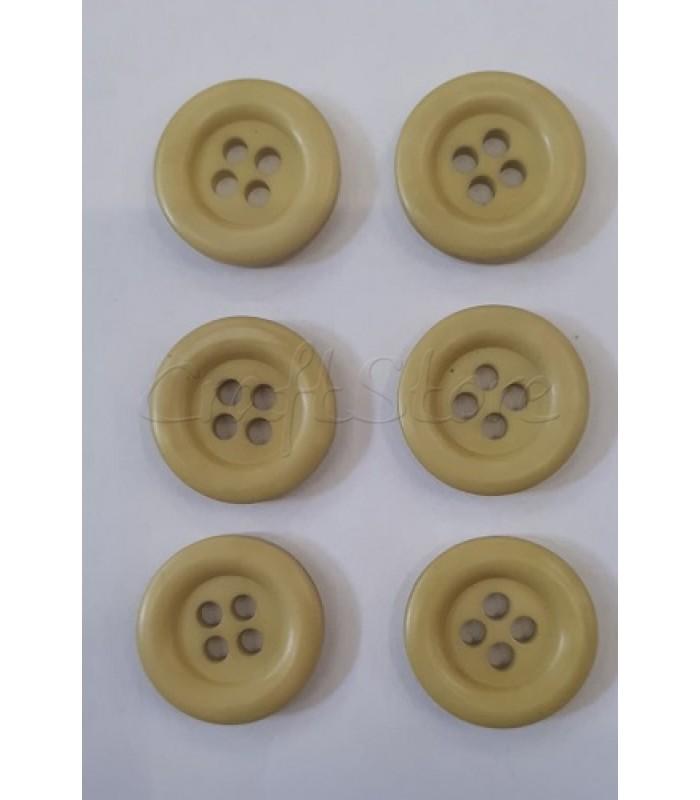 Κουμπιά Πλαστικά Χρώμα Κίτρινο Ώχρα 25mm/ 6 τμχ