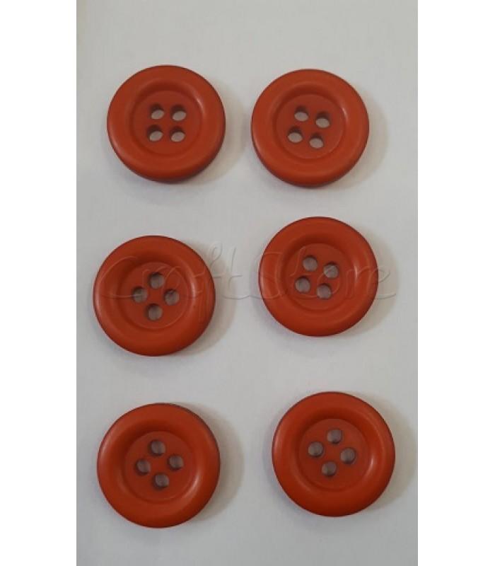 Κουμπιά Πλαστικά Χρώμα Κεραμιδί 25mm/ 6 τμχ