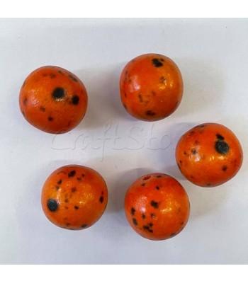 Ξύλινες Χάντρες Orange 25mm/ 5 τεμάχια