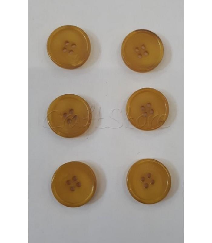 Κουμπιά Πλαστικά Χρώμα Μουσταρδί 20mm/ 6 τμχ