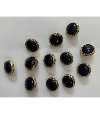 Κουμπιά Σκούρο Μπλε με Χρυσό Περίγραμμα 15mm  /12τμχ