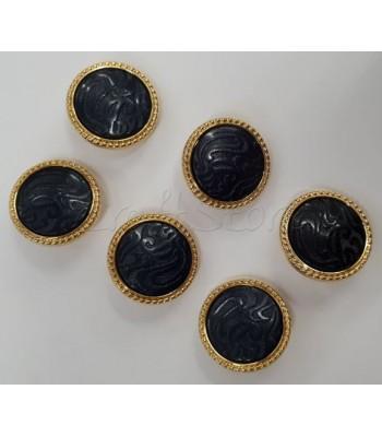 Κουμπιά Ανάγλυφα Σκούρο Μπλε με Χρυσό Περίγραμμα 20mm  /6τμχ