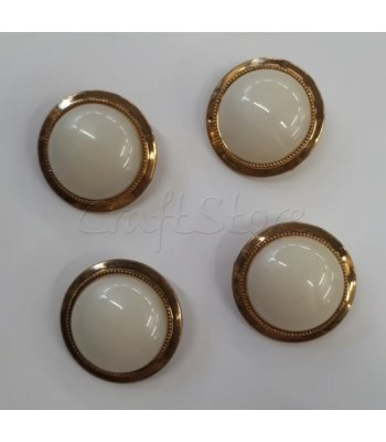 Κουμπιά σε  Λευκό με Χρυσό Περίγραμμα 25mm  /4τμχ