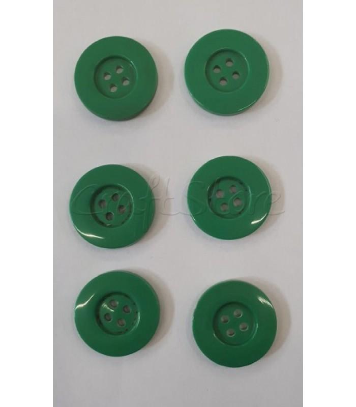 Κουμπιά Πλαστικά Χρώμα Πράσινο 25mm/ 6 τμχ