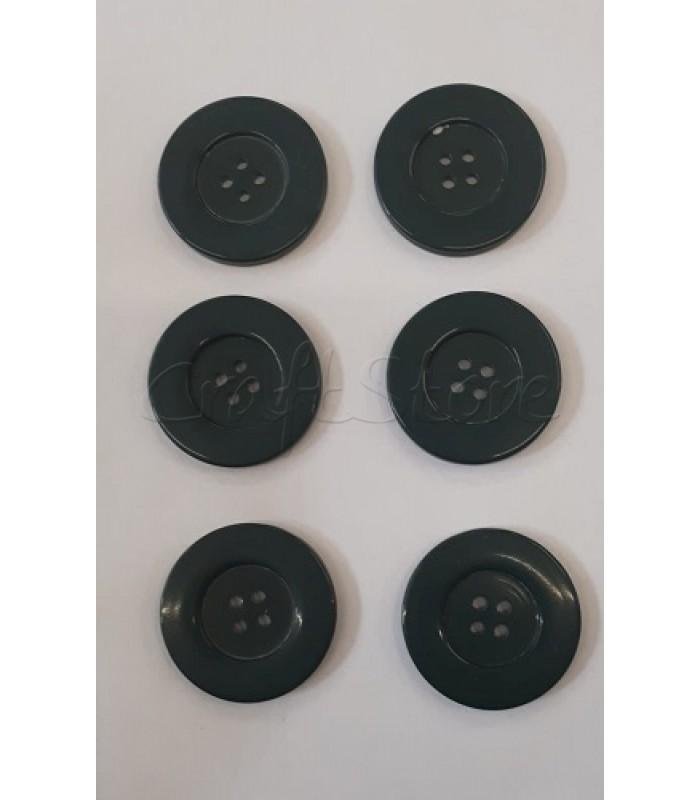 Κουμπιά Πλαστικά Χρώμα Πράσινο Σκούρο 32mm/ 6 τμχ