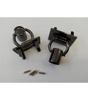 Βάση με κρίκο για χερούλι τύπου σωλήνα 2.5Χ4εκ. / Μαύρο Νίκελ/ 1τμχ
