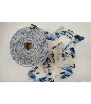 Κορδέλα Τούλι 5cm 400gr Εκρού με Μπλε Αποχρώσεις