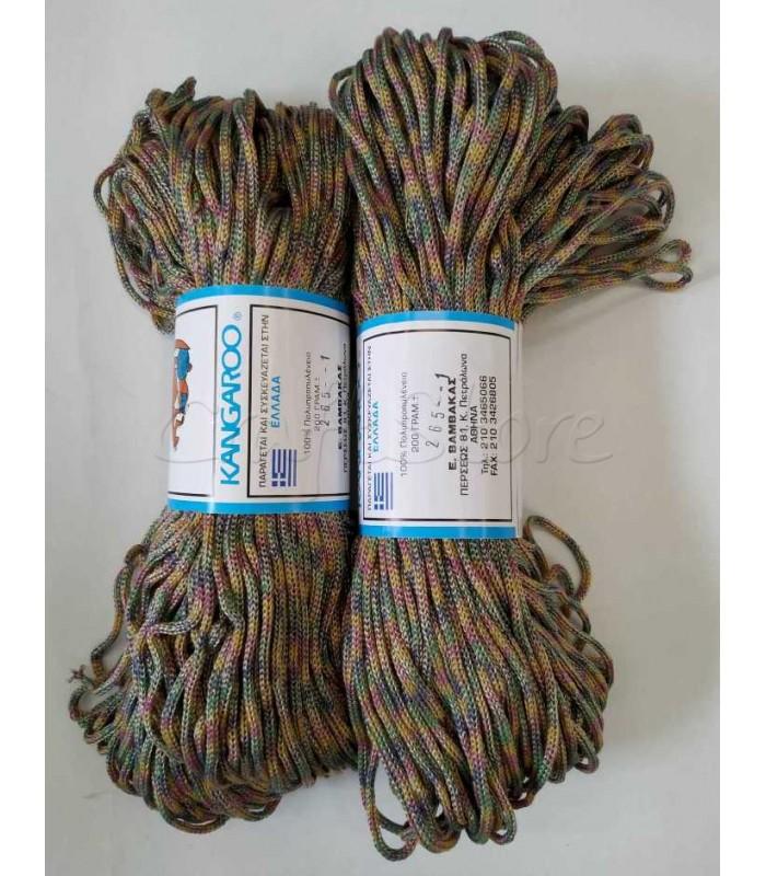 Κορδόνι Πολυπροπυλένιο Τρίχρωμο Πράσινο- Μουσταρδί- Λαδί- Ροδί