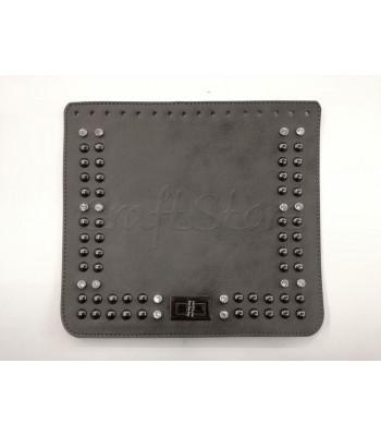 Καπάκι Ορθογώνιο 25x22cm με Στρας & Τρουκς & Κουμπωμα Στριφτό Μαύρο Νίκελ/Γκρι