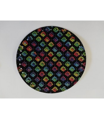 Πάτος Τσάντας Στρογγυλός Μαύρος με Πολύχρωμες Πούλιες 21,5cm