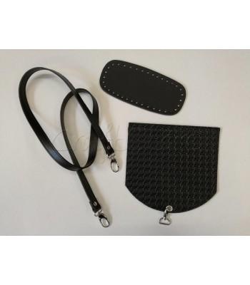 Σετ Ανάγλυφο Καπάκι Μαύρο 20 x20 εκ. με Ασημί Άγκιστρο- Βάση Τσάντας 21x8εκ. Μαύρο- Χεράκι Μαύρο με γάτζους Ασημί 120εκ.