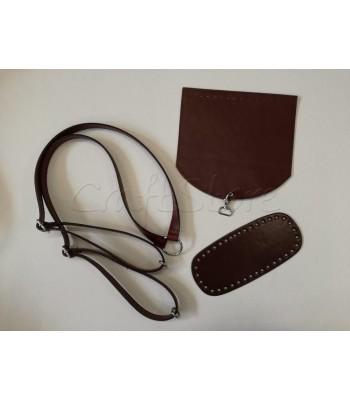 Σετ  Χερούλια πλάτης Μπορντώ- Καπάκι Τσάντας 20 x20 εκ. Μπορντώ με Ασημί Άγκιστρο-Βάση Τσάντας 21x8εκ. Μπορντώ