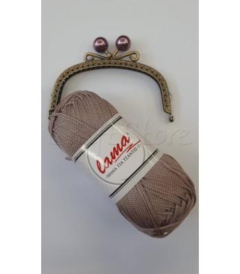 Σετ Νήμα Μακραμέ Μπεζ Elephant με Κούμπωμα Μπρονζέ Vintage με Μωβ Πέρλα 12.5cm
