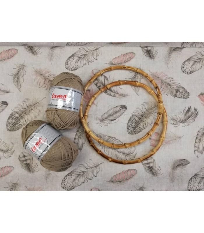 Σετ 2 Lama Κορδόνι για Τσάντες Μπεζ Άμμου, Λονέτα με Μοτίβο Φτερά 40εκ. x 1μ. & Χερούλια Κρίκοι Bamboo 22cm