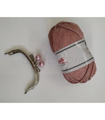Σετ Νήμα Lama Μεταλλιζέ Ροζ Παλαιό 200gr με Κούμπωμα Νίκελ Vintage με Ροζ Πέρλα 12.5cm