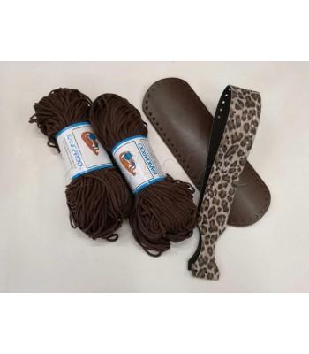 Σετ προσφορά Κορδόνι Πολυπροπυλένιο Καφέ & Χεράκι Τσάντας Leopard & Βάση Τσάντας 30x10cm