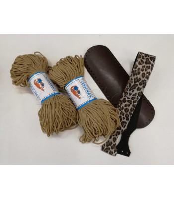 Σετ προσφορά Κορδόνι Πολυπροπυλένιο Μπεζ  & Χεράκι Τσάντας Leopard & Βάση Τσάντας 30x10cm