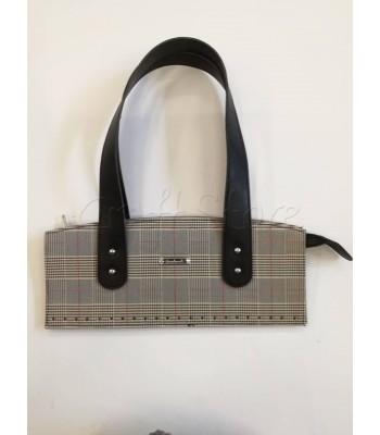 Κορμός Τσάντας με Φερμουάρ και Χεράκια 33x14cm/  Μαύρα Χεράκια με Γκρι Λεπτή Ρίγα Καρό