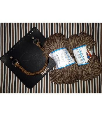 Σετ 2 Κορδόνια Καλοκαιρινό Πλεγμένο Δίχρωμο Καφέ-Μπεζ Άμμου - Καπάκι Τσάντας Τετραγωνισμένο με λαβή Μπαμπού 25 x22,5 εκ. Μαύρο