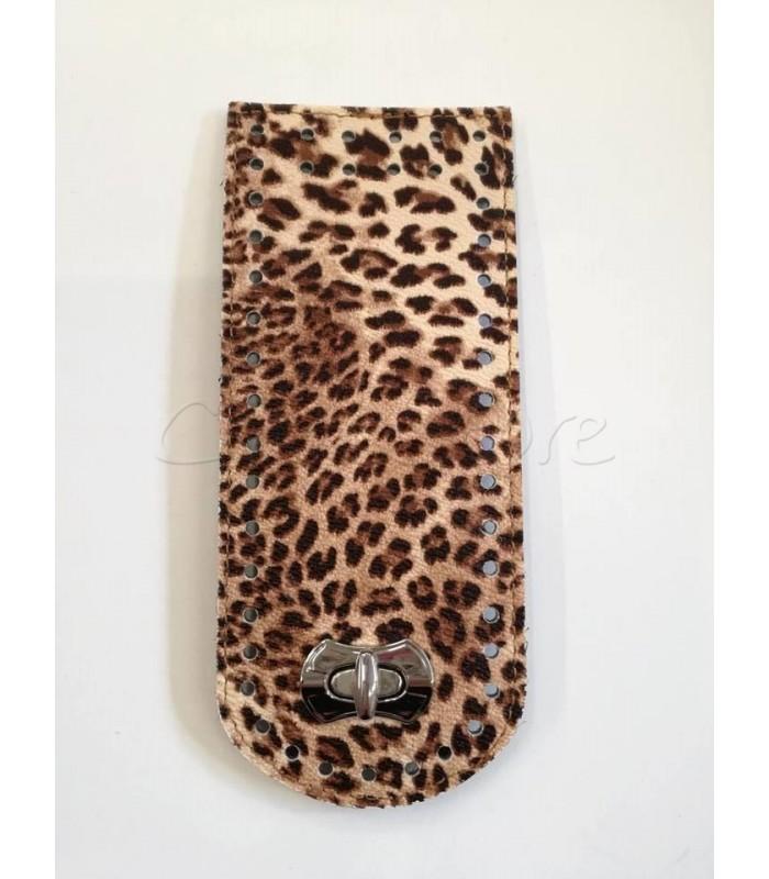 Γλωσσάκι 20x8 cm με Στριφτό Κούμπωμα Νίκελ/ Leopard