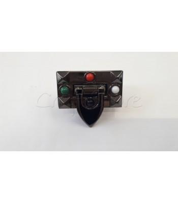Μεταλλικό Διακοσμητικό Κούμπωμα Κλειδαριά Μαύρο Νίκελ με Χρωματιστές Πετρούλες 4.5x2.5cm