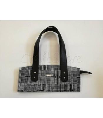 Κορμός Τσάντας με Φερμουάρ και Χεράκια 33x14cm/  Μαύρα Χεράκια με Μαύρο-Λευκό Μοτίβο