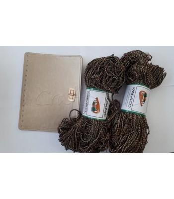 Σετ 2 Κορδόνια Καλοκαιρινό Πλεγμένο Γήινες Αποχρώσεις Μεταλλόνημα - Καπάκι Τσάντας 23 x18 εκ. Χρυσό με Στριφτό Κούμπωμα