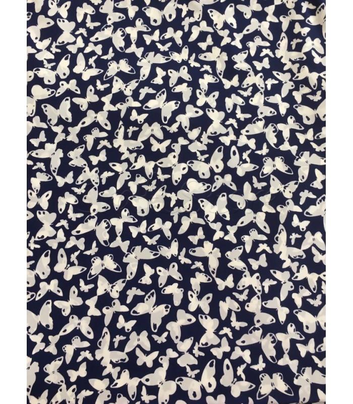 Ύφασμα Σκούρο Μπλε με Πεταλούδες 50εκ. Χ 1.5μ.