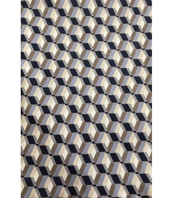 Ύφασμα με μοτίβο Τρισδιάστατα Τετράγωνα σε Αποχρώσεις Μαύρο-Γκρι-Μπεζ Πούρου- Μπεζ  50εκ. Χ 1.5μ.