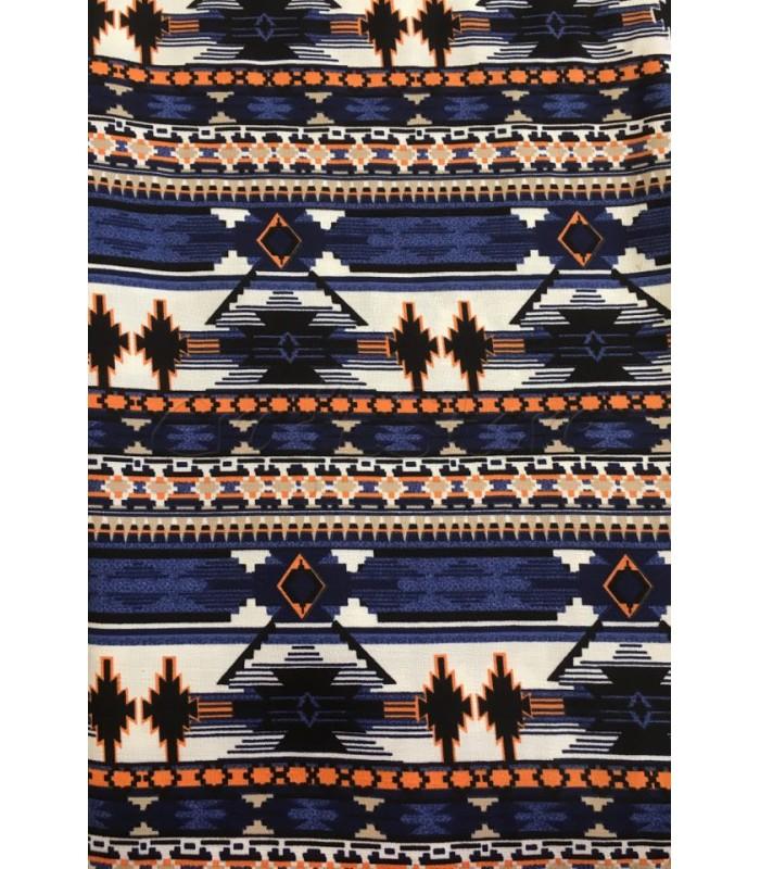 Ύφασμα με Εμπριμέ Έθνικ  μοτίβο με Αποχρώσεις Μπλε-Πορτοκαλί-Ιβουάρ 50εκ. Χ 1.5μ.