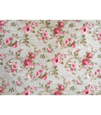 Λονέτα  English Floral Style Μπεζ με Τριαντάφυλλα 1.40 x 1μ.