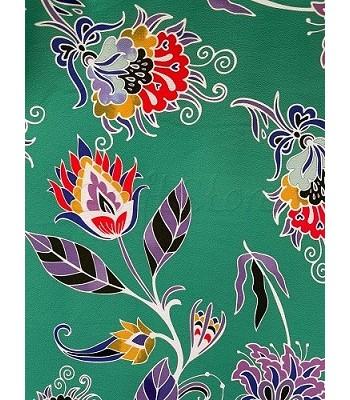 Ύφασμα Φόντο Πράσινο με Φούξια Λουλούδια 1.40μ. Χ 1μ.