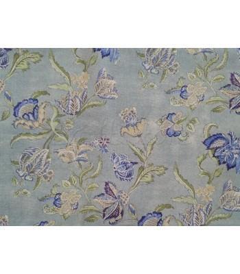 Λονέτα με Φόντο Γκρι Παστέλ και Λουλουδάκια Μωβ-Σιέλ 1,40μ. x 1μ.