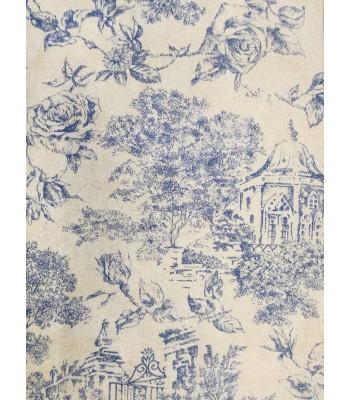 Λονέτα Romantic Floral Σκίτσο Μπεζ-Μπλε 1.40 x 1μ.