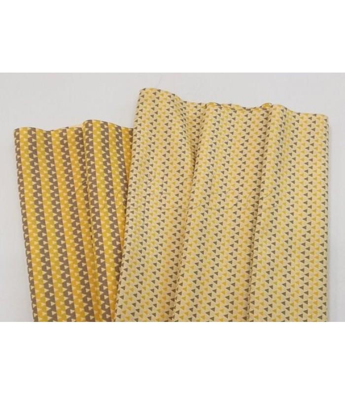 Ύφασμα Κίτρινο με Γκρι Τρίγωνα