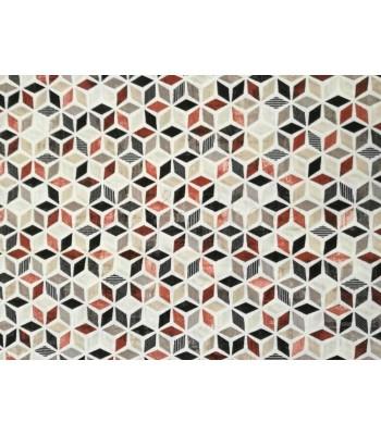 Λονέτα  Μωσαϊκό Μοτίβο με Πολύγωνα Μπεζ-Κεραμιδί-Μαύρο-Γκρι 1.40 x 1μ.