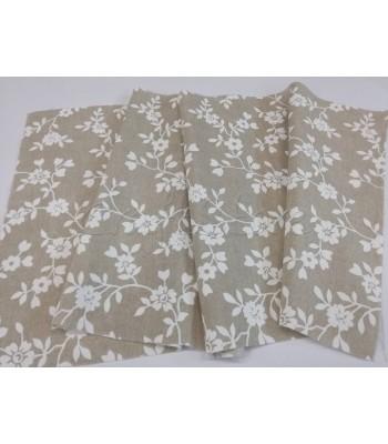 Λονέτα Μπεζ με Τύπωμα Λευκά Λουλούδια 40εκ. x 1μ.