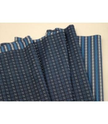 Ύφασμα Μπλε Ραφ με Στοιχεία Γκρι Αρζαν -Τετράγωνα