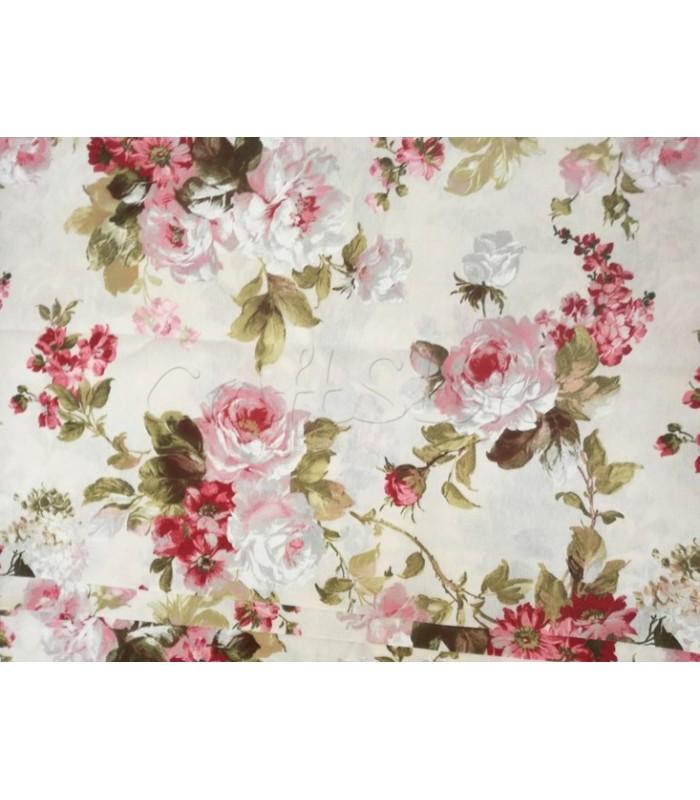 Λονέτα  Floral Εκρού με Ροζ Παστέλ Τριαντάφυλλα 40εκ. x 1μ.