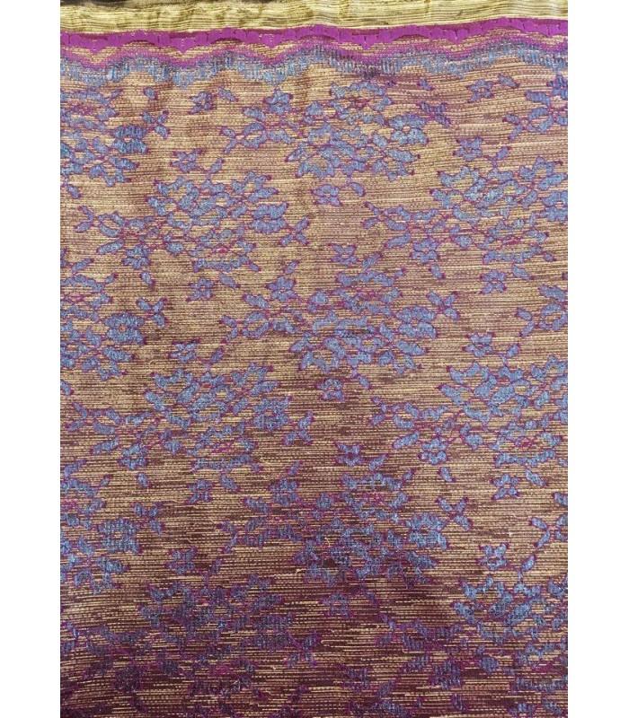 Ύφασμα Χρυσό με Floral μοτίβο σε Αποχρώσεις Μωβ-Μπλε Ραφ  50εκ. Χ 1.5μ.